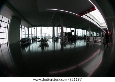 shot of an airport terminal. Color is subtle here. Taken in Zurich, Switzerland. - stock photo
