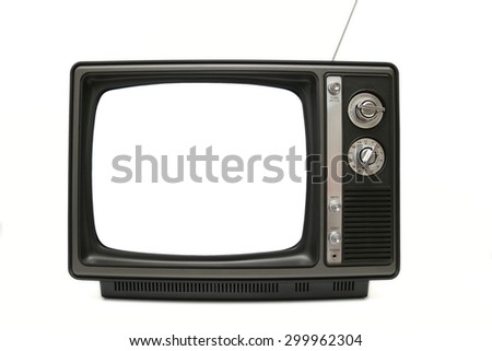 "Shot of an old/vintage black and white television. The ""screen"" is pure white. Isolated on white."