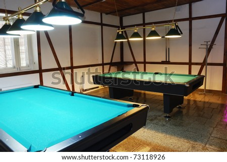 shot of billiard room with tables, interior