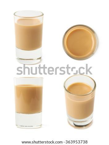 Shot of cream liqueur isolated - stock photo