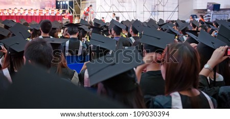 Shot of graduation caps during commencement - stock photo