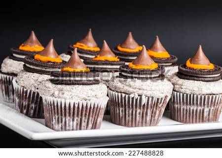 Shot of multiple Halloween cupcakes - stock photo