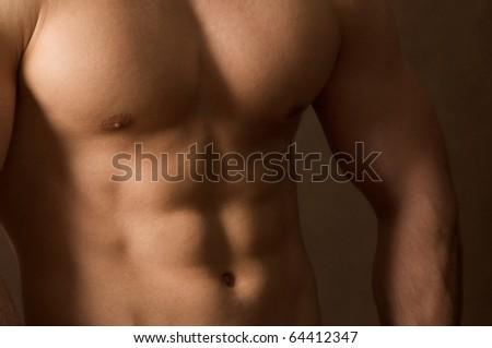 shot of muscular body - stock photo