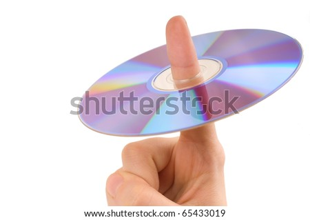 Shot of perfect disc on on woman`s finger isolated on white background. horizontal. - stock photo