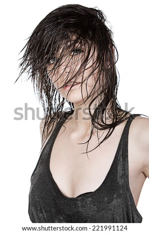 Shot of Pretty Teen with Wet Hair - stock photo