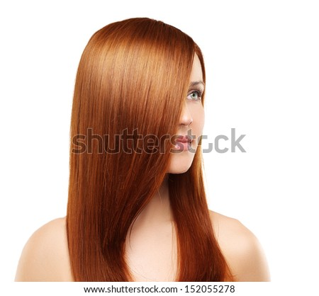 Shot of redhead, beautiful woman on white background. - stock photo