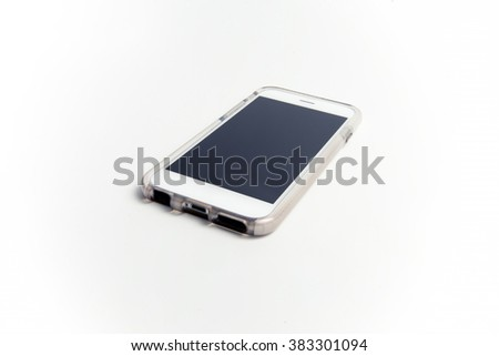 shot of smartphone on a white background
