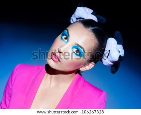 Shot of the bright brunette - stock photo