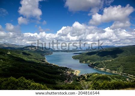 shot of the Mavrovo Lake, Macedonia - stock photo