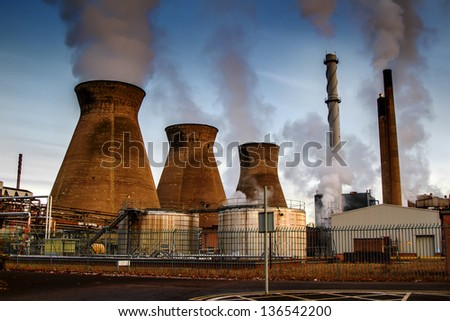 Shot of towers at a UK power station - stock photo