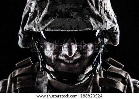 Shot of US marine face with grin on his face - stock photo