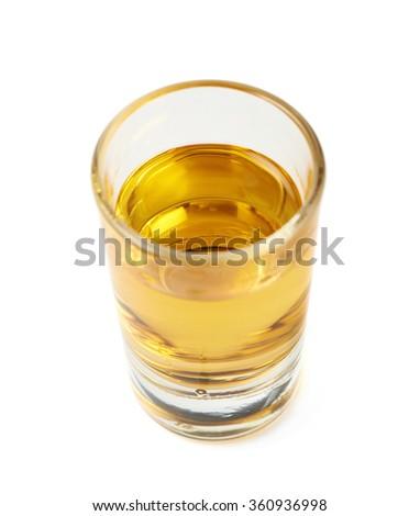 Shot of whiskey bourbon isolated - stock photo