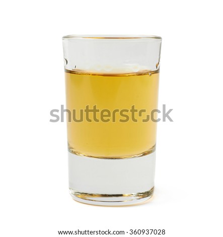 Shot of whiskey bourbon isolated