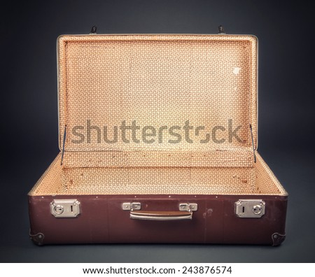 Shot Of Worn Old Suitcase - stock photo