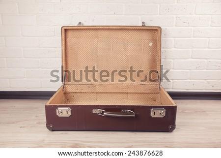 Shot Of Worn Old Suitcase - stock photo