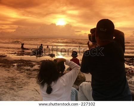 Shot the sunset in Java Beach, eight hours after tsunami in Indonesia.