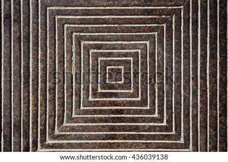 Shot to a metal sewer cover from the top with patterns and details, background, texture - stock photo
