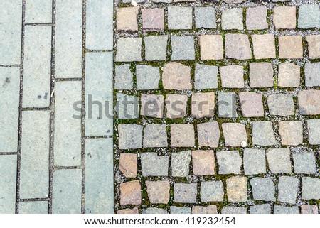 Shot to a rock paved path pattern - stock photo