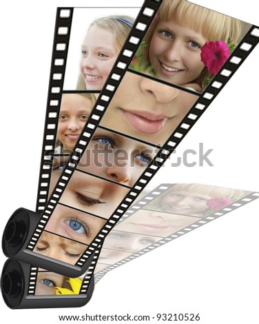 Shot with different parts of faces of emotions on a filmstrip - stock photo