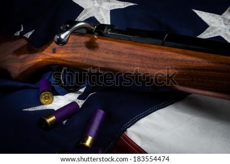 Shotgun and American Flag - stock photo