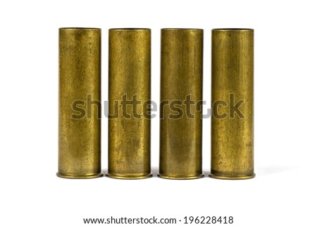 Shotgun brass metal old cartridge. Isolated on white background - stock photo