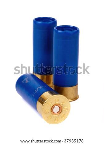 Shotgun cartriges 12 caliber isolated on white - stock photo