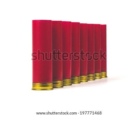 Shotgun plastic cartridge isolated on white background - stock photo