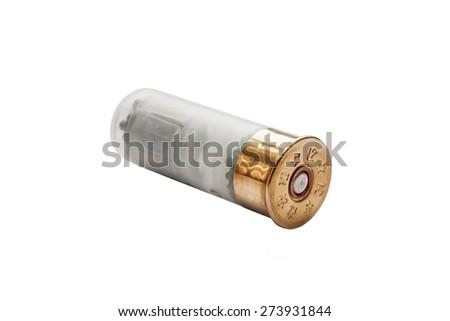 shotgun shell isolated on white - stock photo