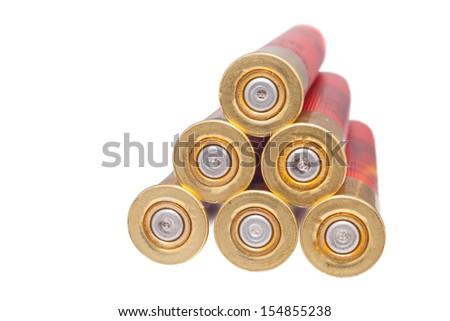 shotgun shell that has been fired - stock photo