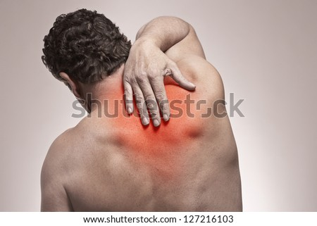 Shoulder and back pain isolated injury concept