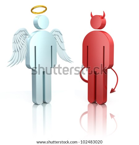 shoulder angel and devil 3d icons isolated - stock photo