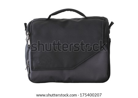 Shoulder canvas camera isolated on white background