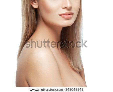 Shoulder lips face chin neck Blonde woman beauty portrait  isolated on white  - stock photo
