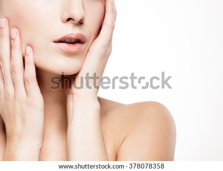 Shoulders hands fingers lips woman studio skin portrait isolated on white  - stock photo