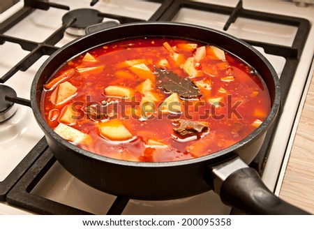 shourpa - tomato soup with meat and potato