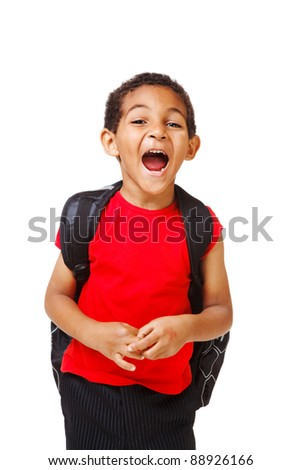 Shouting african american kid with backpack - stock photo