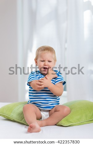 Shouting baby boy - stock photo