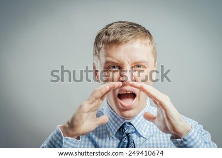 Shouting businessman - stock photo