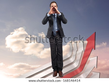 Shouting businessman against red and grey curved arrows pointing against sky
