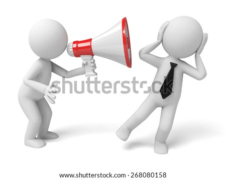 shouting/3d people holding a megaphone shouting to another, 3d image. Isolated white background.