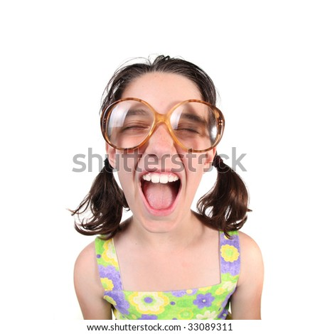 Shouting Girl Wearing Eye Glasses With Eyes Closed on White Background