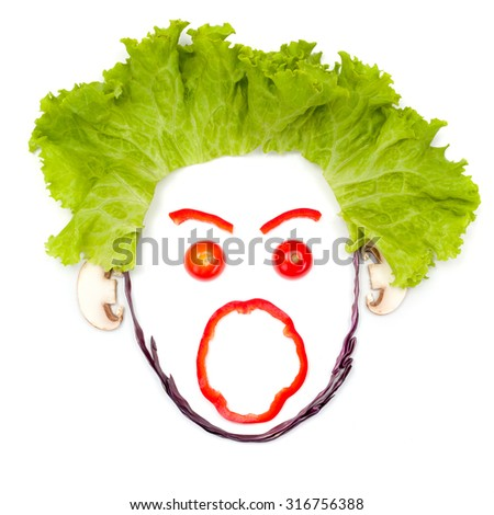 Shouting human head made of vegetable pieces