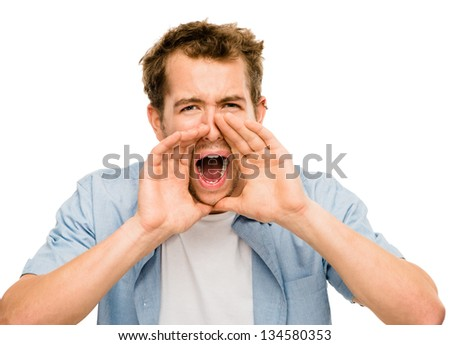 shouting man angry scream white background