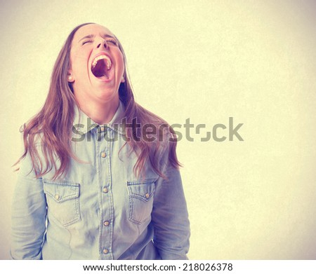 shouting young girl. isolated - stock photo