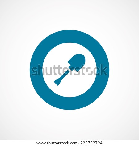 shovel bold blue border circle icon, isolated on white background  - stock photo