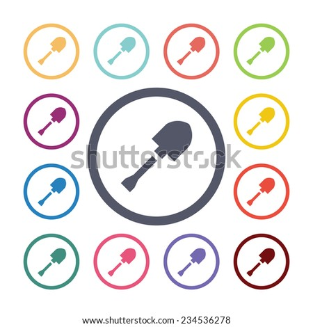 shovel flat icons set. Open round colorful buttons  - stock photo
