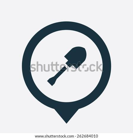 shovel icon map pin on white background  - stock photo