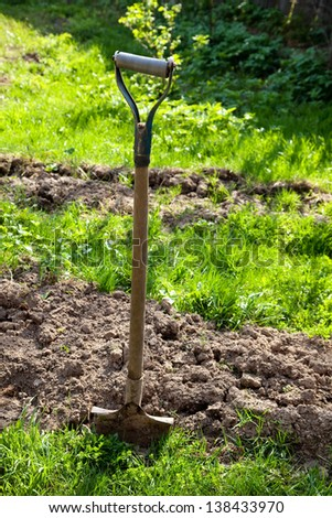 shovel in the ground in the garden - stock photo