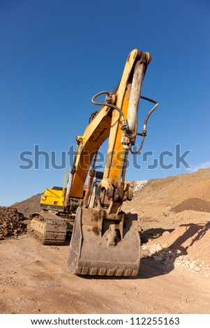 Shovel of yellow excavation machine