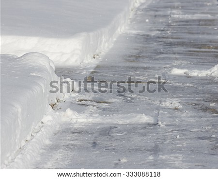 Shoveled Snow Sidewalk